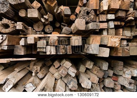 Stack of used lumber for reuse in construction or build the furniture