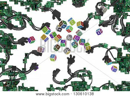 Electronic circuit wired arms with toy cubes over white 3d illustration