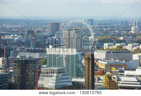 LONDON, UK - OCTOBER 14, 2015. London panorama Westminster side of the city and London eye