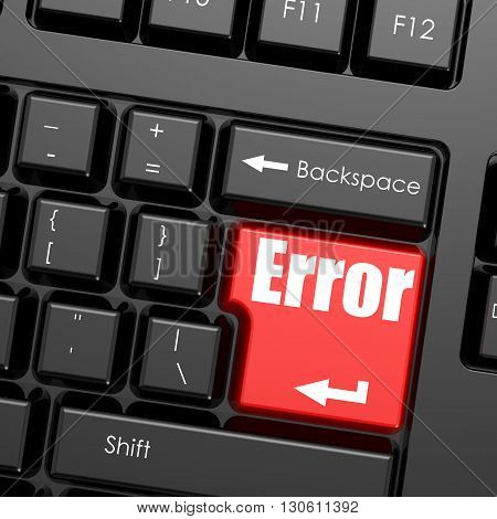 Red enter button on computer keyboard Error word. Business concept, 3D rendering