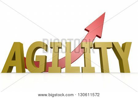 Agility word with red arrow image, 3D rendering
