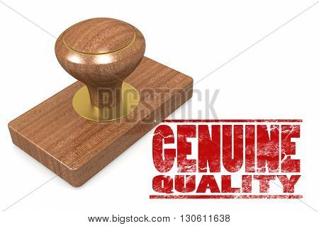 Genuine quallity wooded seal stamp image, 3D rendering