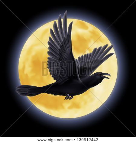 Black crow fly on the background of a full moon night