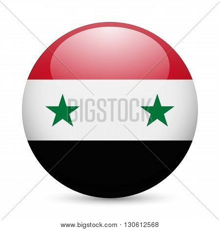 Flag of Syria as round glossy icon. Button with Syrian flag