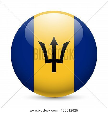 Flag of Barbados as round glossy icon. Button with Barbadian flag
