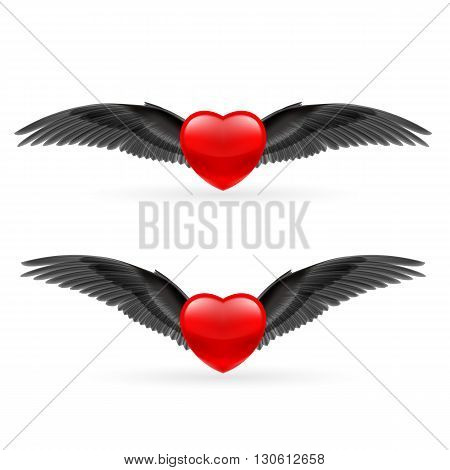 Two red hearts with black crow wings.