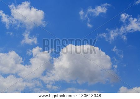 Clouds in the blue sky. Synoptics. Good weather