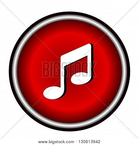 music notes icon on white background, vector illustration