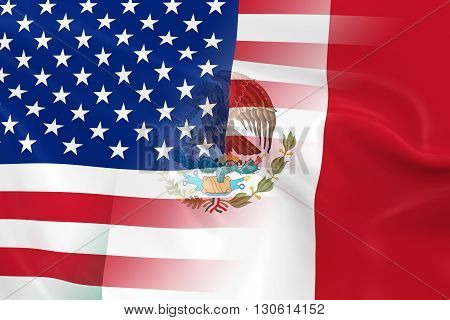 US and Mexican Relations Concept Image - Flags of the United States of America and Mexico Fading Together - 3D Illustration