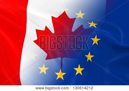 Canadian and European Relations Concept Image - Flags of Canada and the European Union Fading Together - 3D Illustration