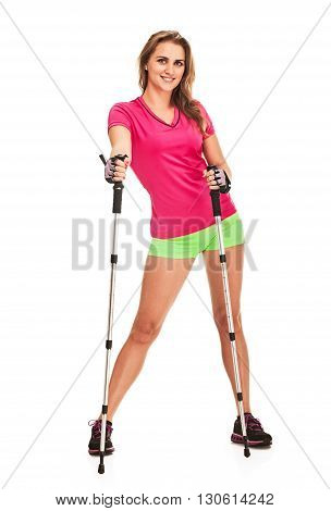Nordic walking - active people. woman in studio on white background
