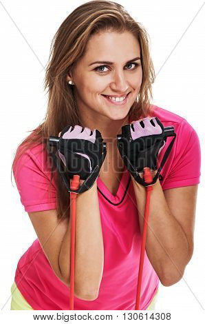 athletic woman with rubber tape on white background. studio portrait