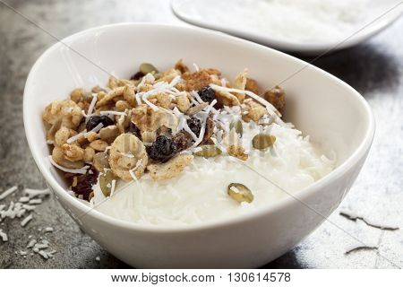 Yoghurt muesli or yogurt granola with coconut.
