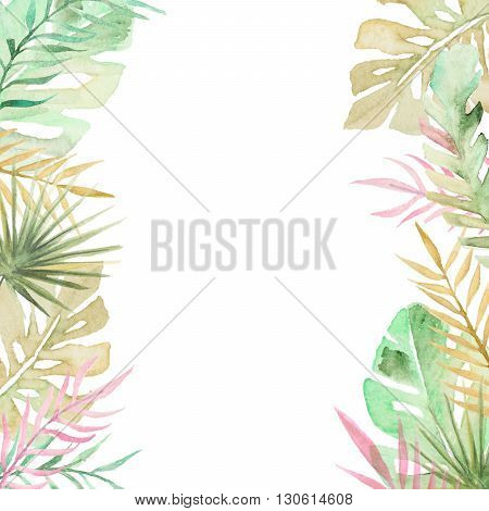 Watercolor palm tree leaves background template. Watercolor tropical greeting card.