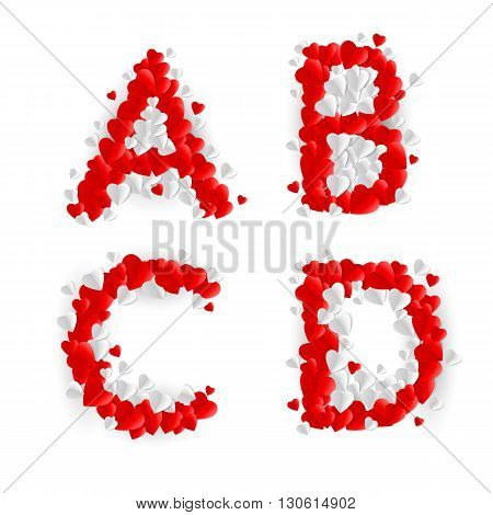Letters A B C D made of paper hearts
