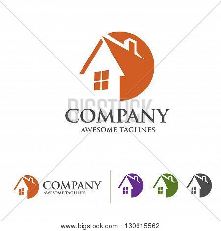 house and real estate symbol with circle style concept