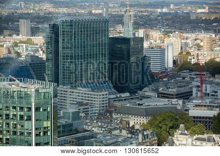 LONDON, UK - OCTOBER 14, 2015. Office buildings of the City