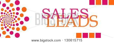 Sales leads text written over pink orange background.