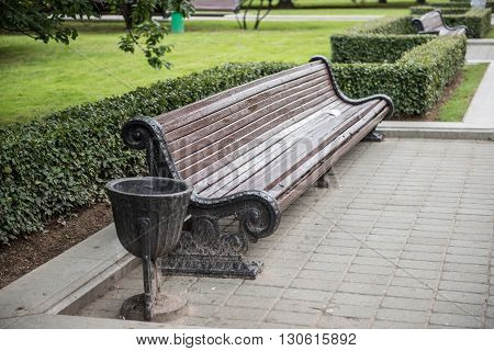 A sitting bench in Gorky Park, Minsk. Gorky Park is a wonderful place for both kids and adults to spend a refreshing time. At the same time, you could also admire these architectural designs from the old days.