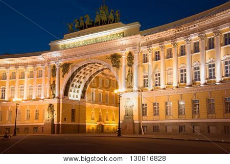 SAINT PETERSBURG, RUSSIA - JULY 06, 2015: Arch of the General staff in night illumination. View from Dvortsovaya square. Historical landmark of the city St. Petersburg, Russia