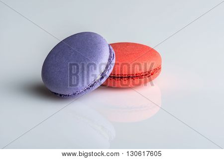 Image of colorful macaroons on a white background
