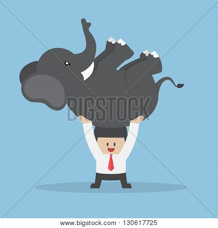 Businessman Lifting An Elephant