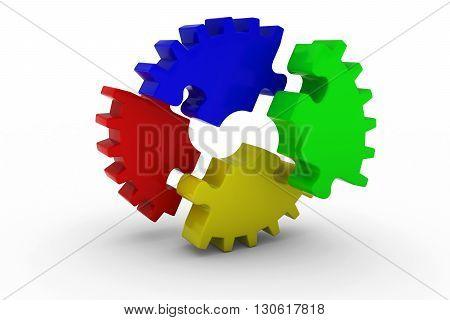 Multicoloured Exploded Jigsaw Puzzle Cog Wheel on White Background - 3D Illustration