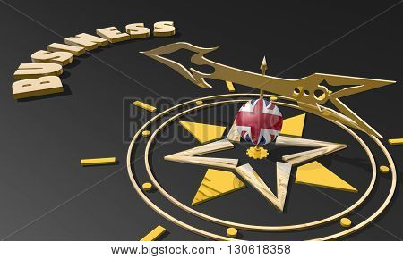 Red arrow of a compass pointing to the word business. 3D Rendering. Great Britain business metaphor