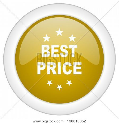 best price icon, golden round glossy button, web and mobile app design illustration