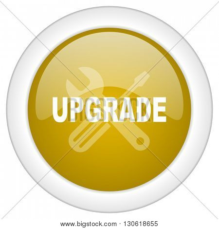 upgrade icon, golden round glossy button, web and mobile app design illustration