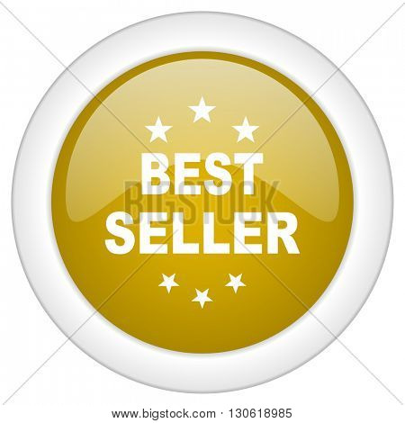 best seller icon, golden round glossy button, web and mobile app design illustration
