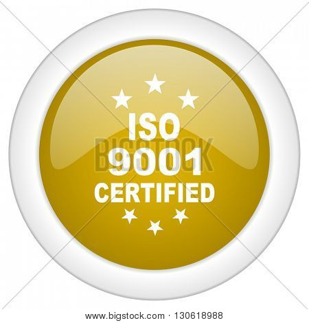 iso 9001 icon, golden round glossy button, web and mobile app design illustration