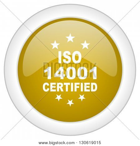 iso 14001 icon, golden round glossy button, web and mobile app design illustration