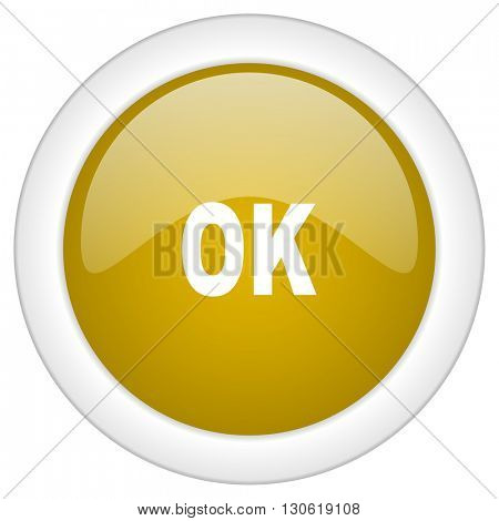 ok icon, golden round glossy button, web and mobile app design illustration
