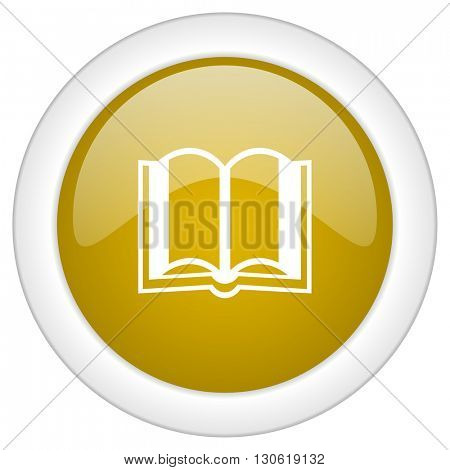 book icon, golden round glossy button, web and mobile app design illustration