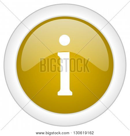 information icon, golden round glossy button, web and mobile app design illustration