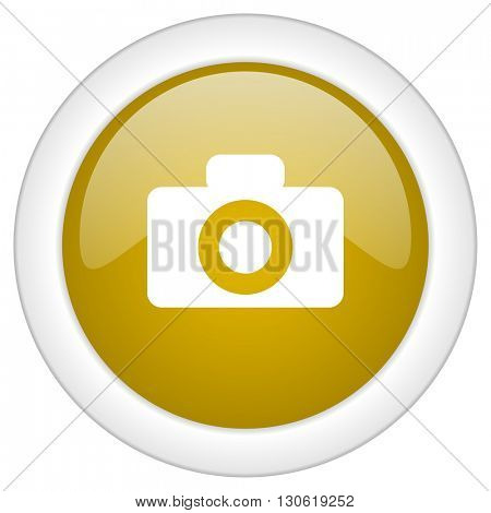 camera icon, golden round glossy button, web and mobile app design illustration