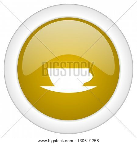 espresso icon, golden round glossy button, web and mobile app design illustration