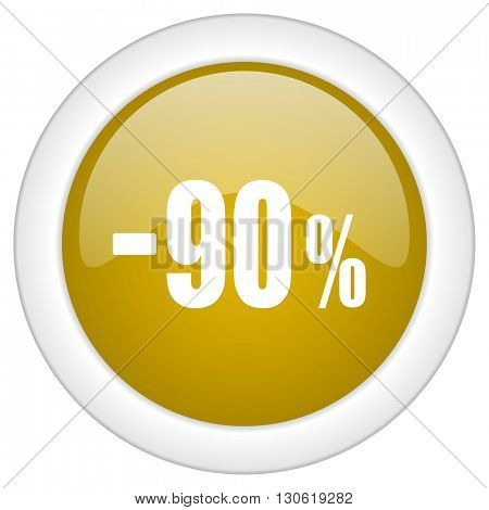 90 percent sale retail icon, golden round glossy button, web and mobile app design illustration