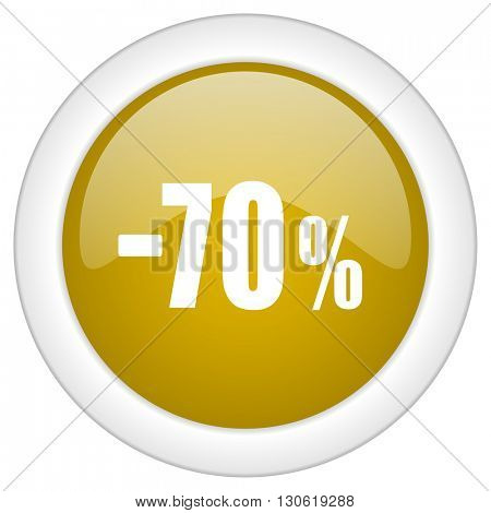 70 percent sale retail icon, golden round glossy button, web and mobile app design illustration