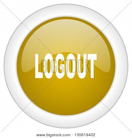 logout icon, golden round glossy button, web and mobile app design illustration
