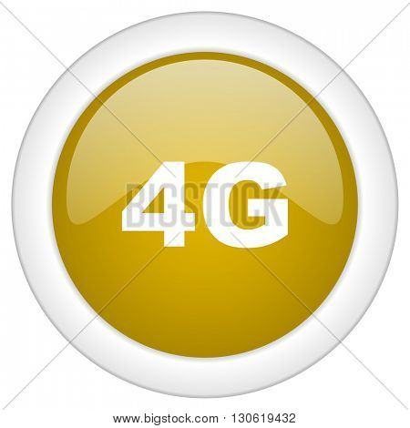 4g icon, golden round glossy button, web and mobile app design illustration
