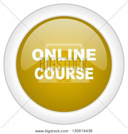 online course icon, golden round glossy button, web and mobile app design illustration