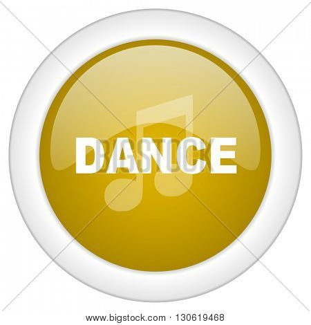 dance music icon, golden round glossy button, web and mobile app design illustration