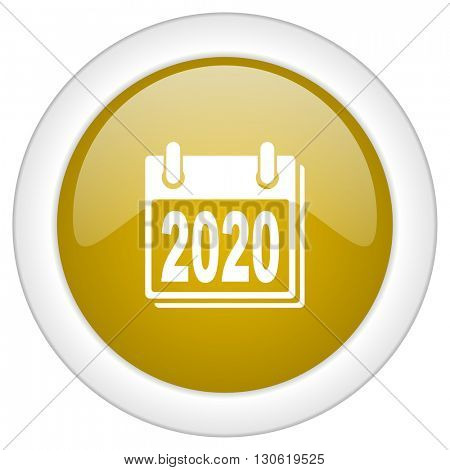 new year 2020 icon, golden round glossy button, web and mobile app design illustration