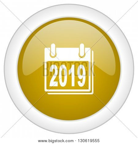 new year 2019 icon, golden round glossy button, web and mobile app design illustration