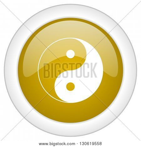 ying yang icon, golden round glossy button, web and mobile app design illustration