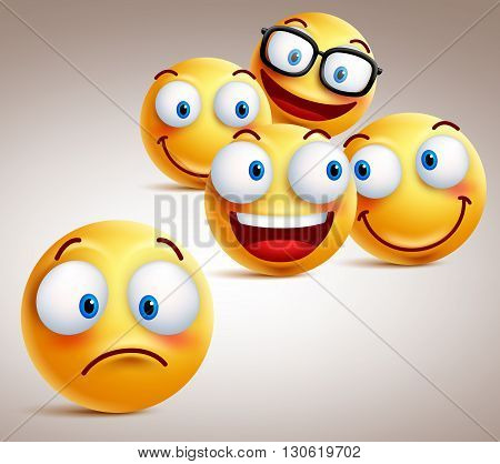 Lonely smiley face vector character concept with group of funny faces of friends at the back. 3D realistic vector illustration