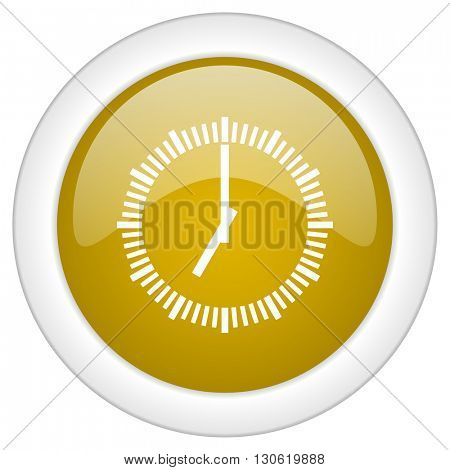 time icon, golden round glossy button, web and mobile app design illustration