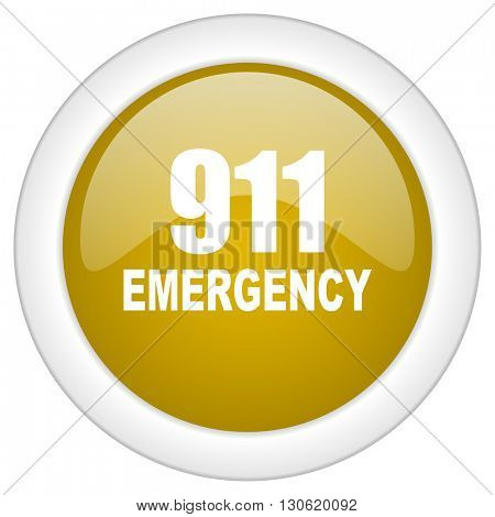 number emergency 911 icon, golden round glossy button, web and mobile app design illustration